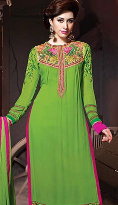 Latest Beautiful Green Georgette A Line Suit