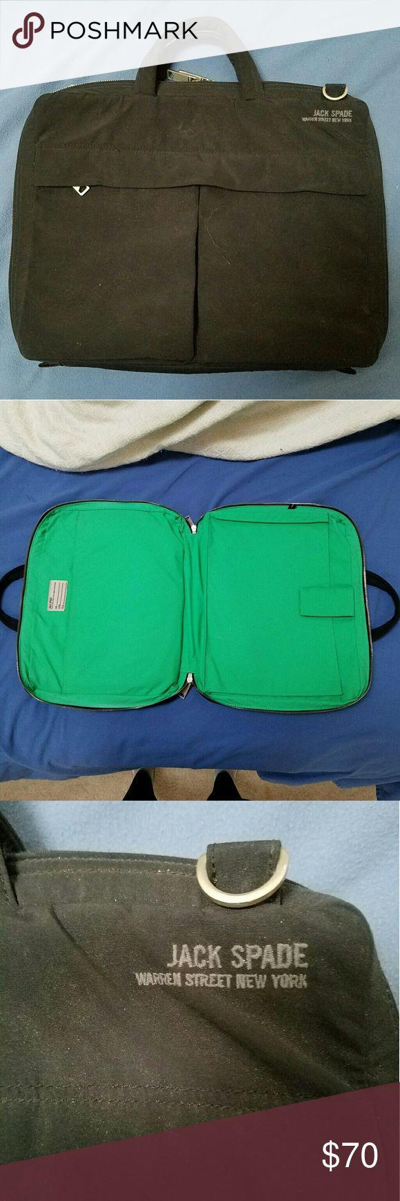 Jack Spade unisex laptop bag Designer laptop bag, black exterior green interior. Great condition, but missing the detachable long shoulder strap. Make an offer! Jack Spade Bags Laptop Bags