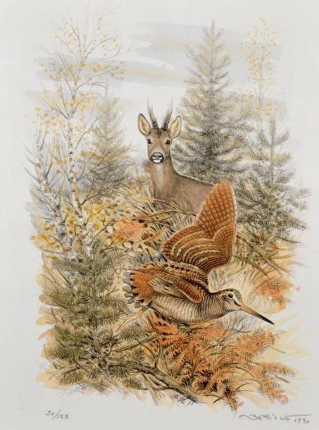 Françis BERILLE XXe siècle Bécasses et autres animaux Deux lithographies…
