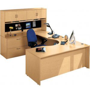 Hyperwork Curved-Corner U-Shaped Office Desk. Renovating, redecorating or updating your workspace? Hertz Furniture offers a variety of office furniture pieces that will fit your needs and budget. http://www.hertzfurniture.com/office-furniture.html