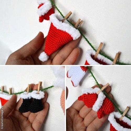 Christmas Crochet garland Santa Claus Christmas от CrochetRedCat