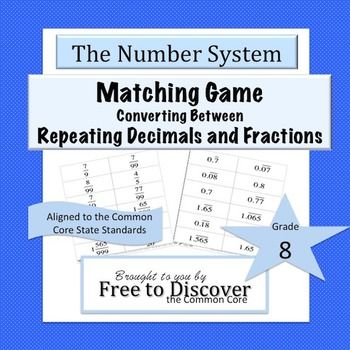 In this cooperative matching game, students will practice converting between repeating decimals and fractions.  There are some non-repeating pairs mixed in to ensure students can distinguish between fractions that correspond with terminating decimals versus repeating decimals.  24 cards are included.
