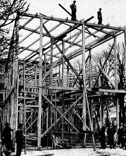 The Soviet pavilion in Paris, 1925 | under construction | via Ross Wolfe's Flickr
