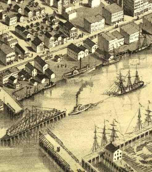old maps of bay city, michigan | ... Birdseye View Map of Third Street Bridge, Bay City, MI / Bay-journal
