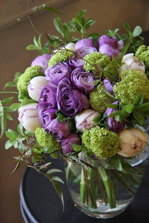 Flower Arrangement In Purple Green White