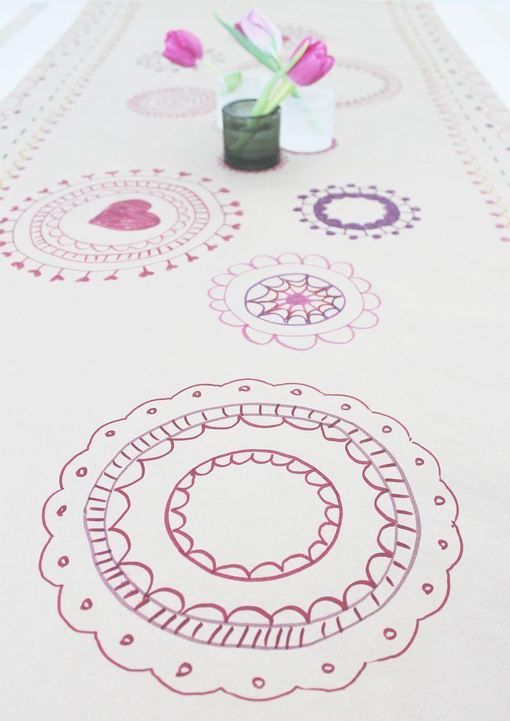 DIY table cloth drawn on paper.