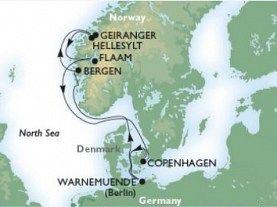 Copenhaga - Warnemunde - Bergen - Hellesylt/ Geiranger - Flaam - Copenhaga