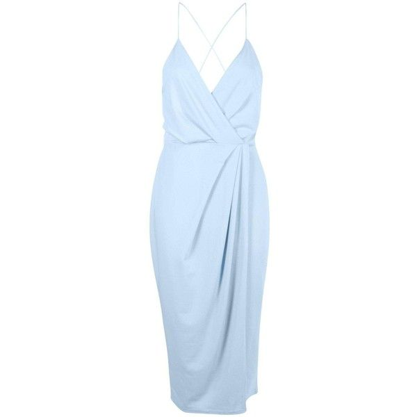 Boohoo Night Diane Strappy Wrap Detail Midi Dress ($30) ❤ liked on Polyvore featuring dresses, blue bodycon dress, sequin party dresses, bodycon dress, blue maxi dress and cocktail party dress