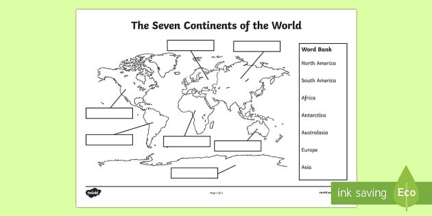The Seven Continents Labelling Activity Worksheet Labeling Activities Continents Activities Geography Lessons Label continents and oceans printable