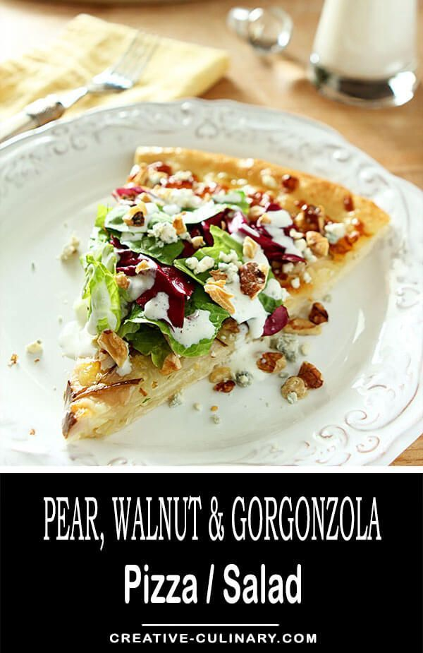I wanted to recreate a favorite from California Pizza Kitchen and I think this Pear, Gorgonzola and Hazelnut Pizza with Mixed Greens was right on the money. It's light, so tasty and pretty to boot! via @creativculinary