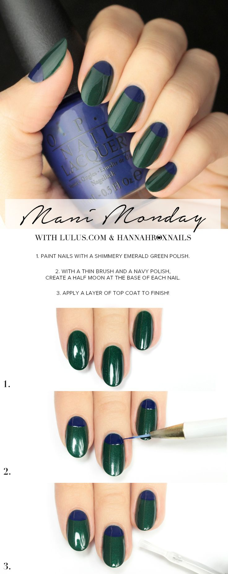 Mani Monday: Blue and Emerald Green Nail Tutorial at LuLus.com!