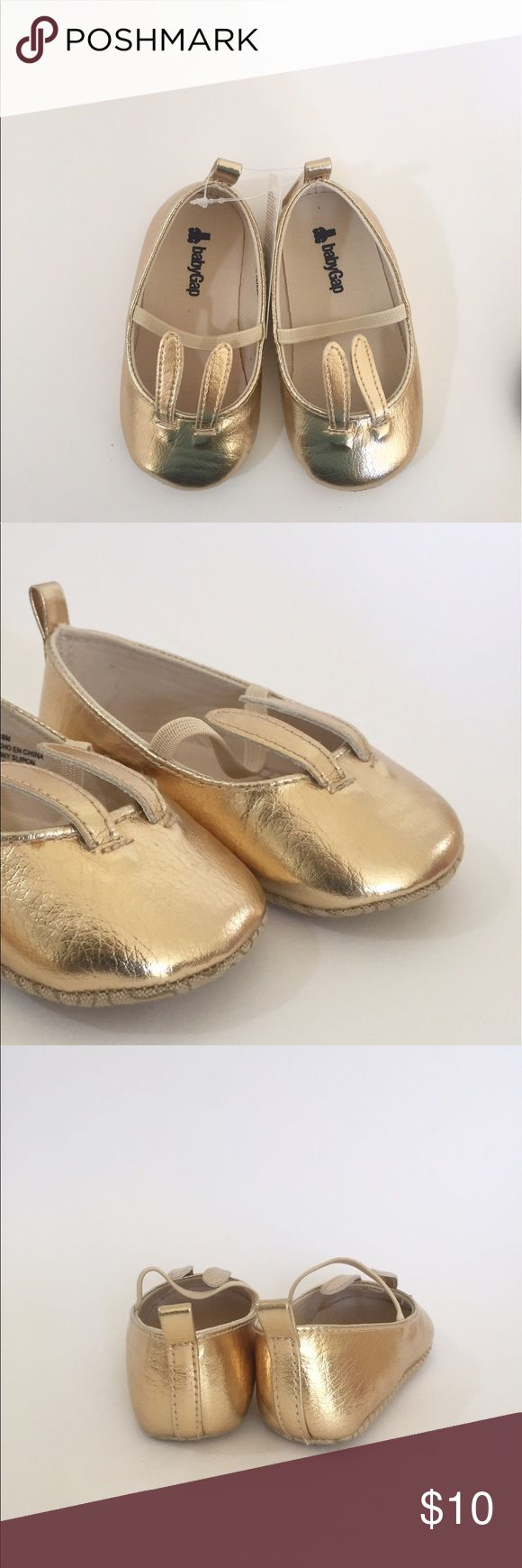 NEW - GAP Baby Gold Ballet Flats (18/24) Brand New with Tags / Gold Ballet Flats with Bunny ears GAP Shoes