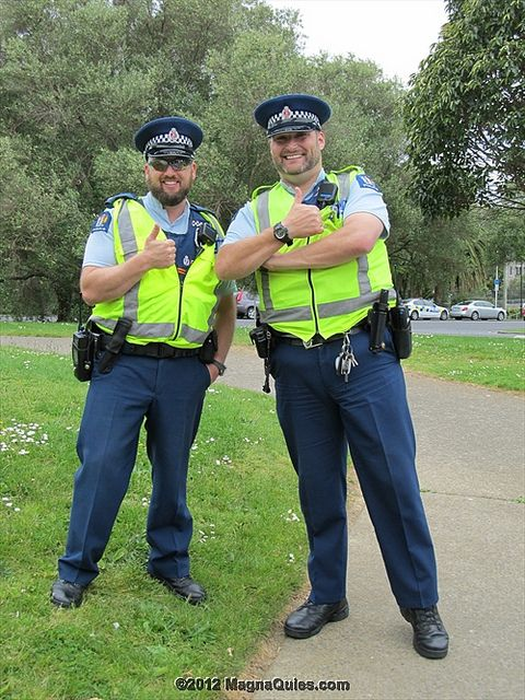 2 jolly policemen outside the entrance to the Car Park at the Auckland War Memorial Museum by SandyEm, via Flickr