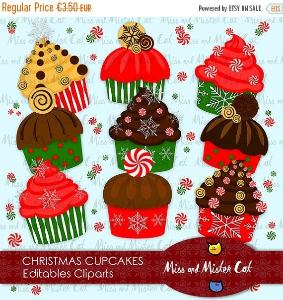 Christmas Cupcakes Cliparts. Digitals cliparts with cupcakes and candies. Vector graphics, images.  Vector clipart set is suitable for