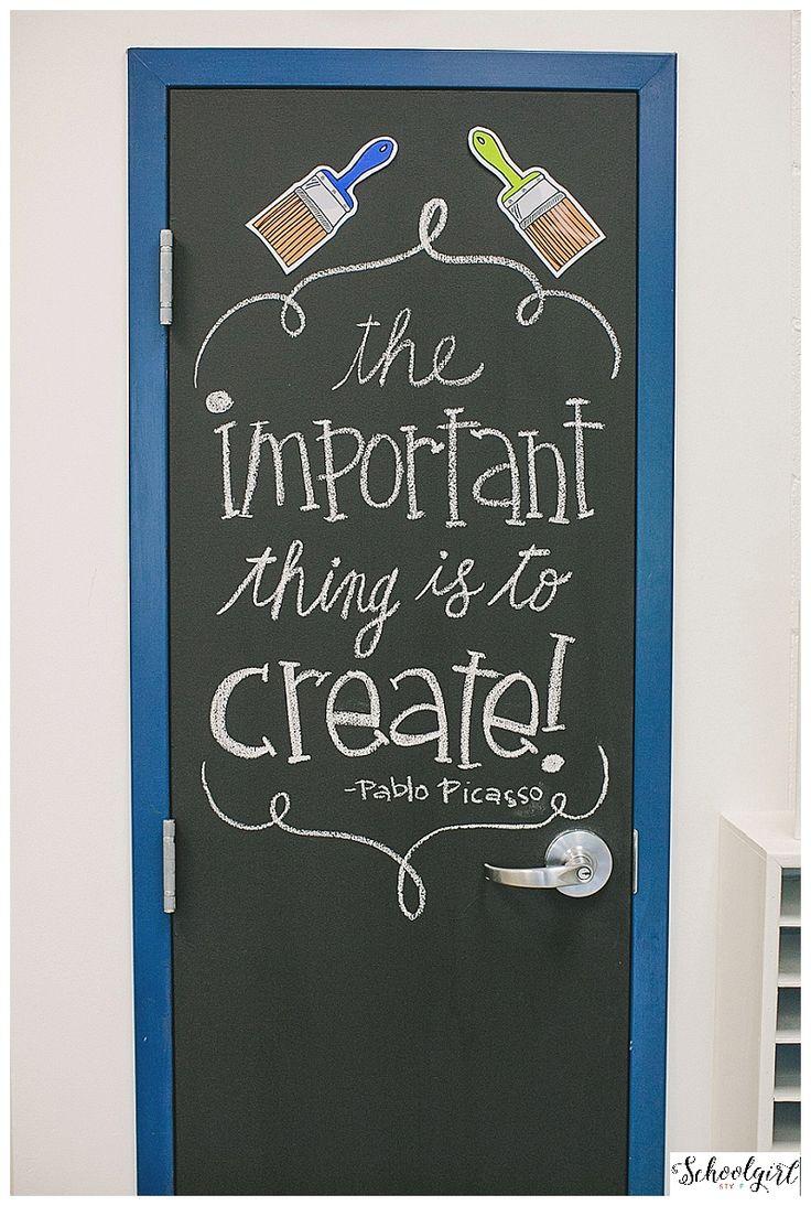 Love this idea rom Schoolgirl style. Perfect for closet doors in the classroom! & Best 25+ Art room doors ideas on Pinterest | Art classroom door ... Pezcame.Com
