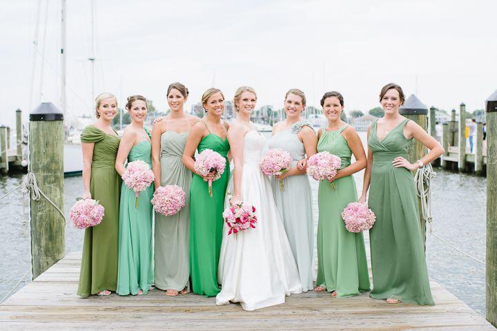 mismatched long green bridesmaids dresses. love.  // Natalie Franke