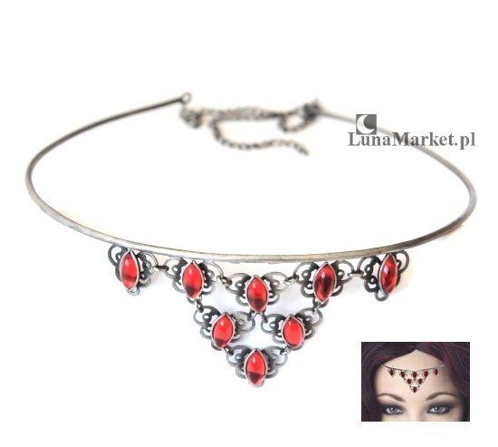 """Tiara """"Freya"""", z czerwonymi kryształkami, w koronkowej obudowie. Biżuteria w stylu gothic & fantasy.  #tiara #tiary #bizuteriafantasy #bizuteriagotycka"""