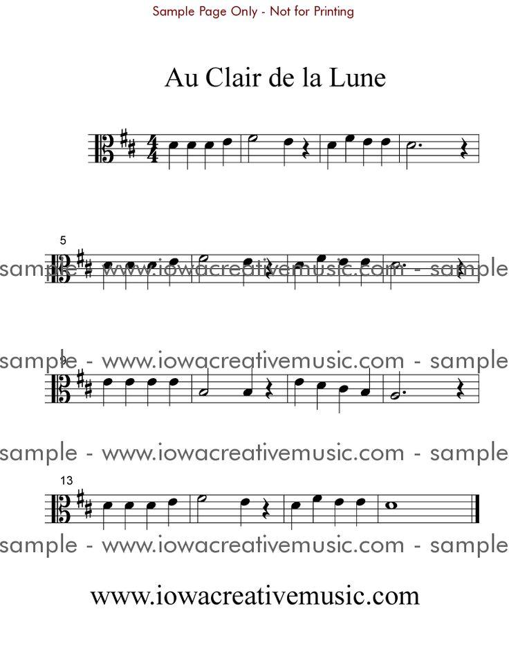 free viola sheet music | Free Viola Sheet Music - Au Clair de la Lune