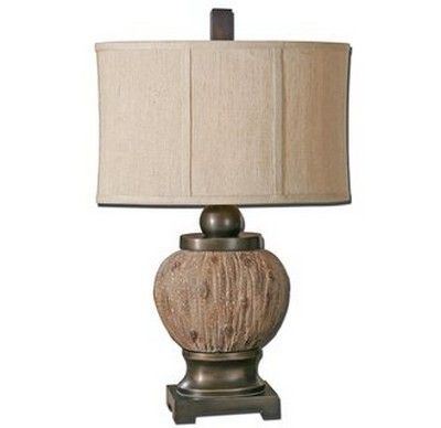 Textured Rustic Wood Tone And Dark Bronze Table Lamp With Khaki Linen Shade