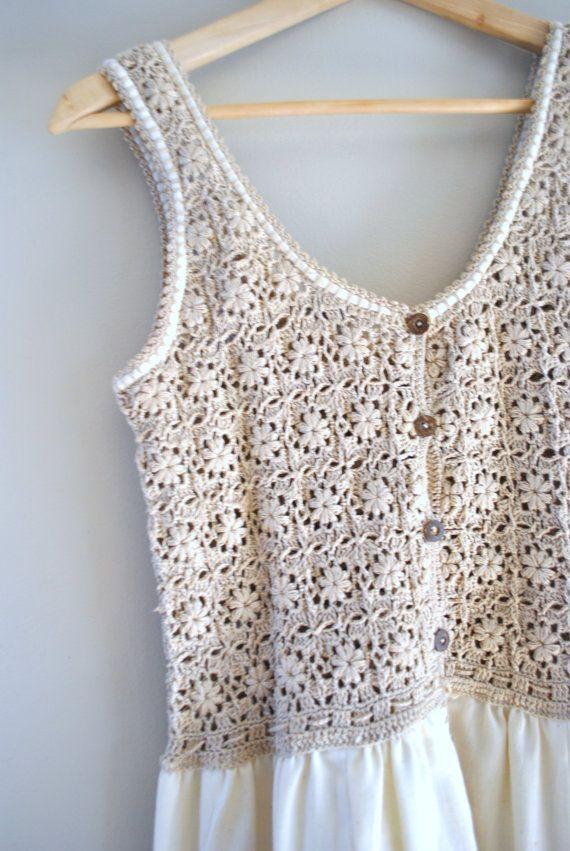 años 70 crochet vestido / y avena y miel del por OFTNvintage