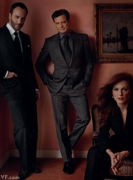 Actors and Directors | Director Tom Ford with Colin Firth and Julianne Moore  One film together: A Single Man (2009). | Annie Leibovitz #leibovitz