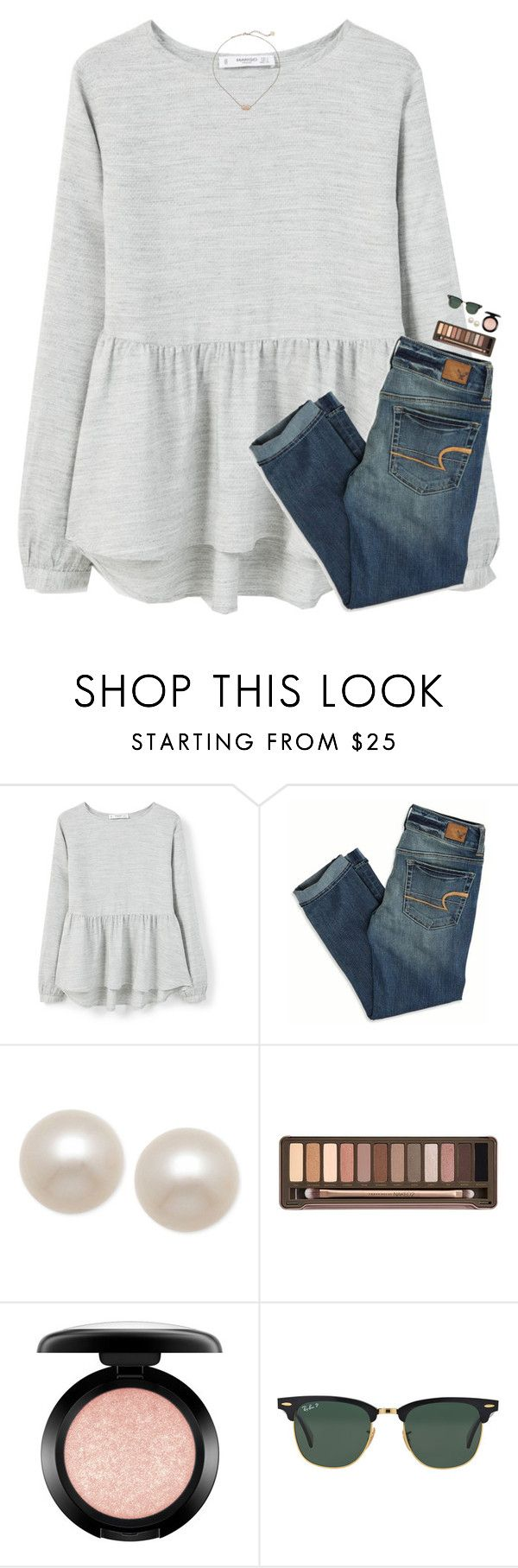 """""""currently it's pouring outside """" by classynsouthern ❤ liked on Polyvore featuring MANGO, American Eagle Outfitters, Honora, Urban Decay, MAC Cosmetics, Ray-Ban and Kendra Scott"""