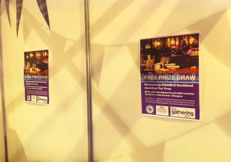 """THE GATHERING – Poster design printed out at the ENABLE Scotland Exhibition Stand promoting the competition for winning two raffle tickets for """"The Grill At The Corner""""."""