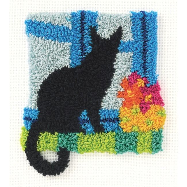 Kitty in Window Punch Needle - I have this kit, I just need to do it. Looks great done