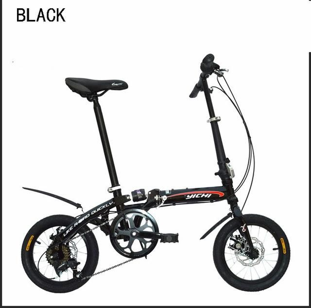 14 inch folding bike mountain bike Gear shift folding bicycle MTB high carbon steel frame disc brake suitable 160-185cm