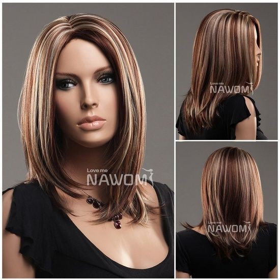 Cool Straight Hair Styles: Midium style Straight Hair Wig,brown and golden color. Price: $19.99
