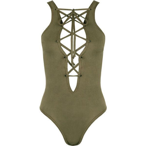 WearAll Hatsune Suedette Lace-Up Bodysuit ($23) ❤ liked on Polyvore featuring intimates, shapewear, tops and green