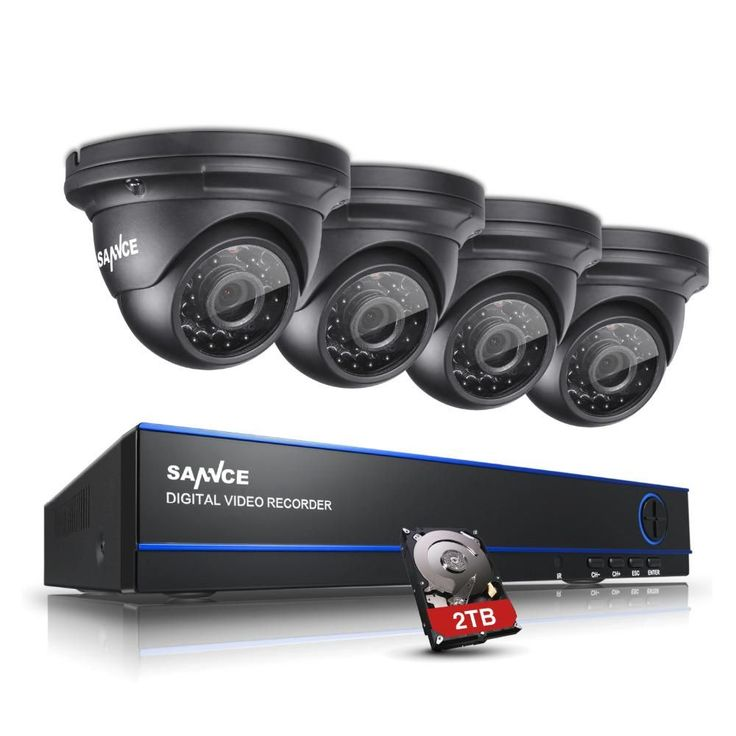 SANNCE 1080P HD 4CH DVR 4PCS Outdoor Home Security IR Night Vision Camera System with 2TB
