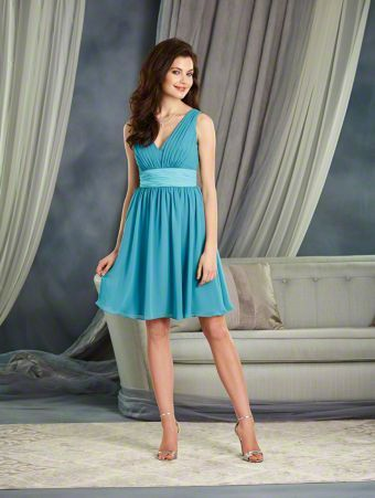 Alfred Angelo Style 7375S: color mix short cocktail length bridesmaid dress with low V-Neckline