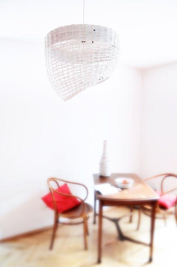 White hanging eco lamp Geometric original simple by BarborkaDesign