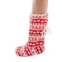Kar desenli twigy kalın çoraplar / Ev botu - Kirmizi