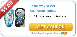 New Coupon: $5/2 Bic Razors