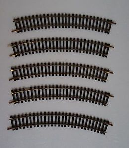 "HO Scale Train Track; 15"" Atlas Black Gold Rails Model Railroad Vintage Lot of 5"