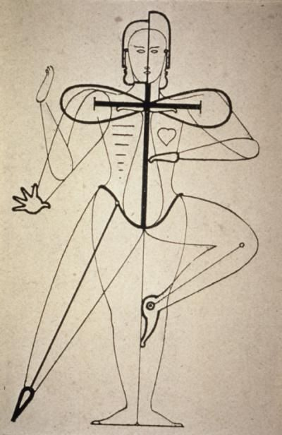"""ca. 1921--German--Oskar Schlemmer--means of transforming the human body by the use of costume--the metaphysical forms of Expression--result: """"dematerialization""""--from """"Man and Art Figure."""""""