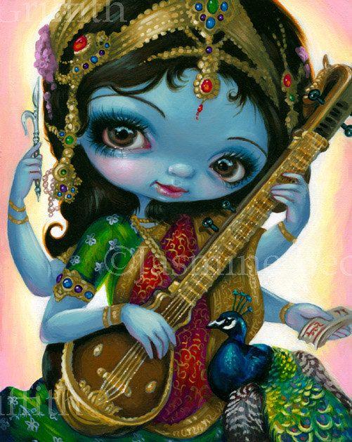 Saraswati Playing Veena hindu goddess fairy art by strangeling, $13.99
