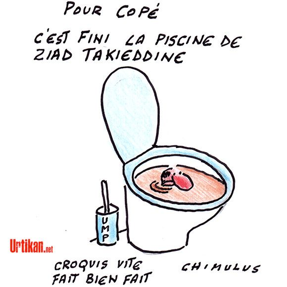 Crise à l'UMP : la noyade de Jean-François Copé - Dessin du jour - Urtikan.net