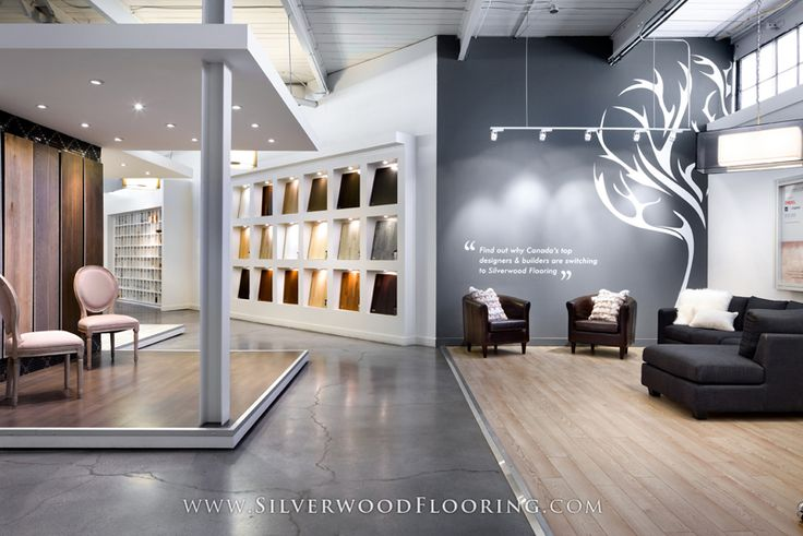 Silverwood flooring showroom lounge and karelia wall for Showroom flooring ideas