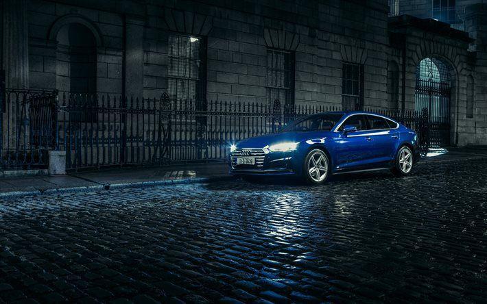 Audi A5 Sportback, 2017, TDI quattro, S line, blue Audi, A5 blue, night