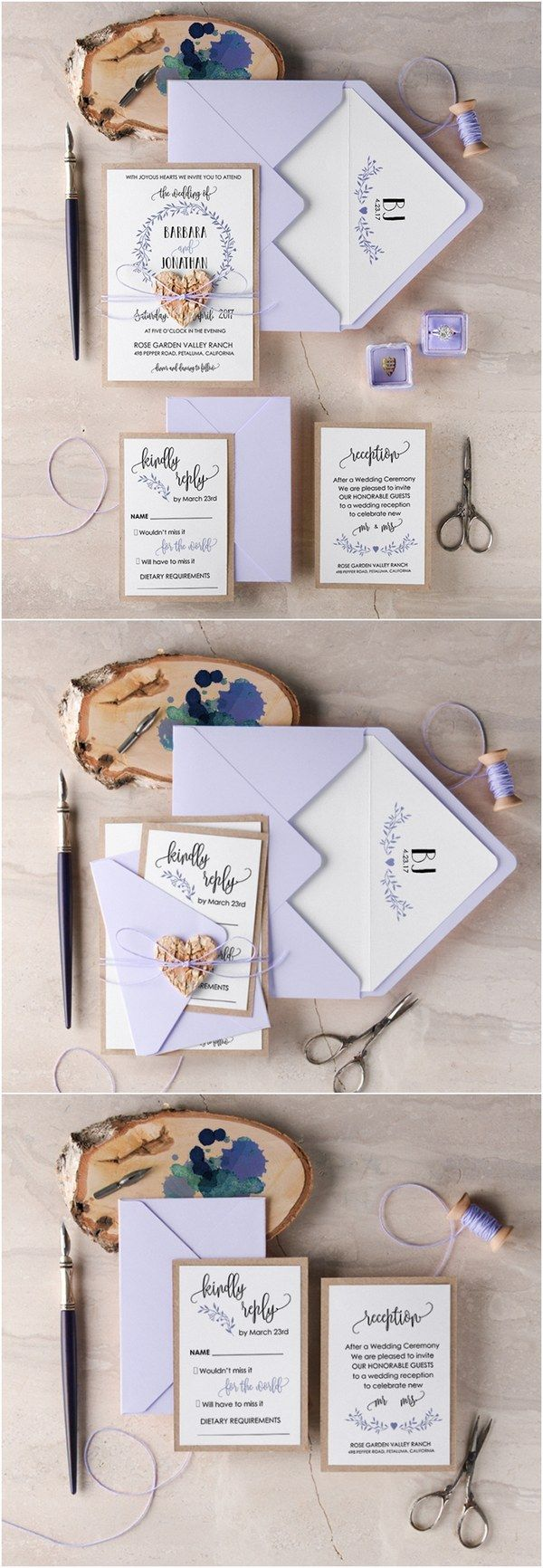 Rustic lavender lilac wedding invitations @4LOVEPolkaDots
