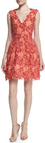 Sleeveless 3D Guipure Lace Dress, Coral