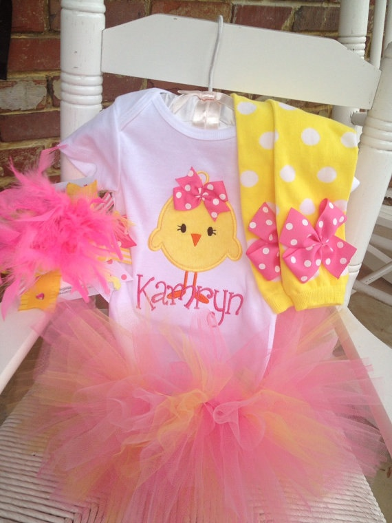 46 best easter gifts for baby images on pinterest easter baby baby girl easter tutu outfit hot pink chickie tutu bodysuit leg warmers and over the top bow pink and yellow negle Image collections
