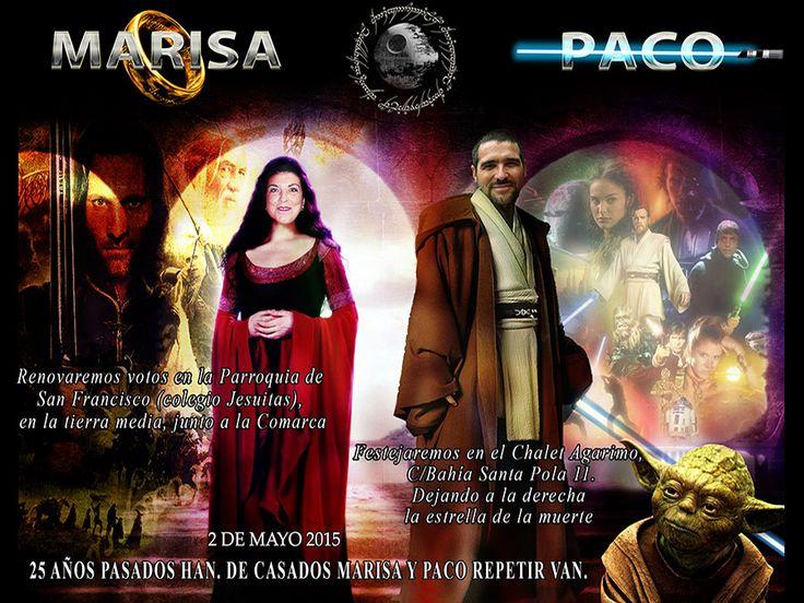Existen muchas empresas de invitaciones de boda, pero no tantas donde se les podría realizar unas Invitaciones de Bodas de Plata Originales y Personalizadas con la elfa Arwen, Undómiel («El lucero de la tarde») acompañada de todo un caballero Jedi..y donde el maestro de ceremonias es Yoda