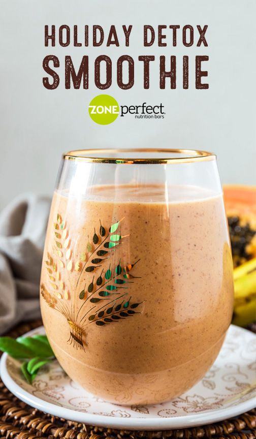 Who says good-for-you ingredients can't taste delicious? This recipe for a Holiday Detox Smoothie includes fresh fruit like apple, papaya, and banana, along with almond butter, almond milk, and flaxseed to whip up a morning drink or midday snack that's full of tropical flavors. Plus, when you pair this creamy beverage with a Oatmeal Chocolate Chunk ZonePerfect Nutrition Bar, it couldn't be easier to stick to your New Year's resolution.