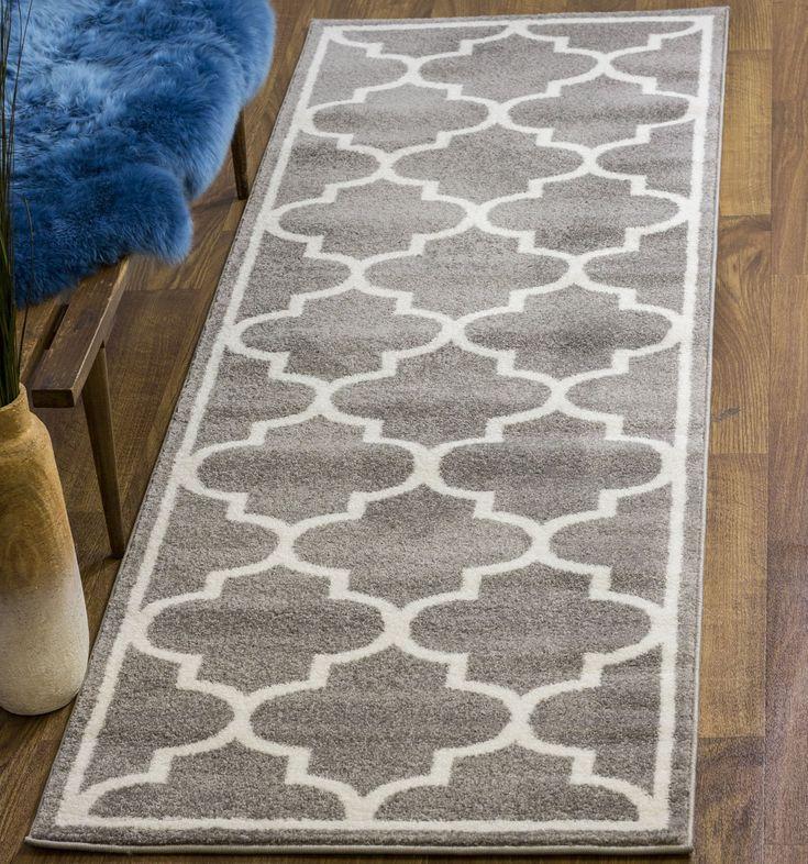 Transitional Rug Gray & White High Quality Carpet Polypropylene