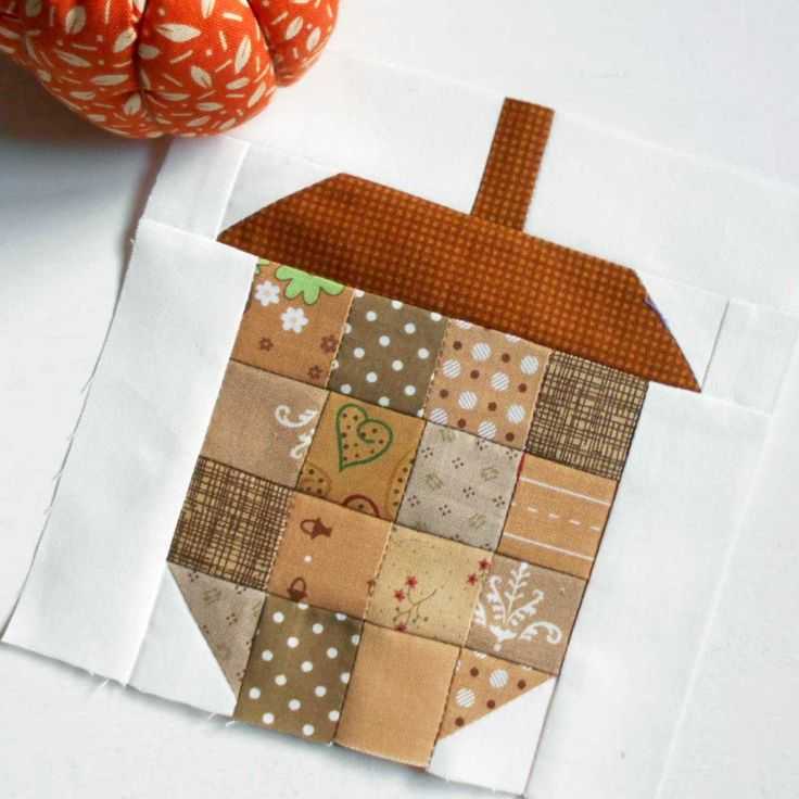 """FREE Scrappy Acorn Block. A 6"""" block of delicious Autumn scrappiness for FREE."""
