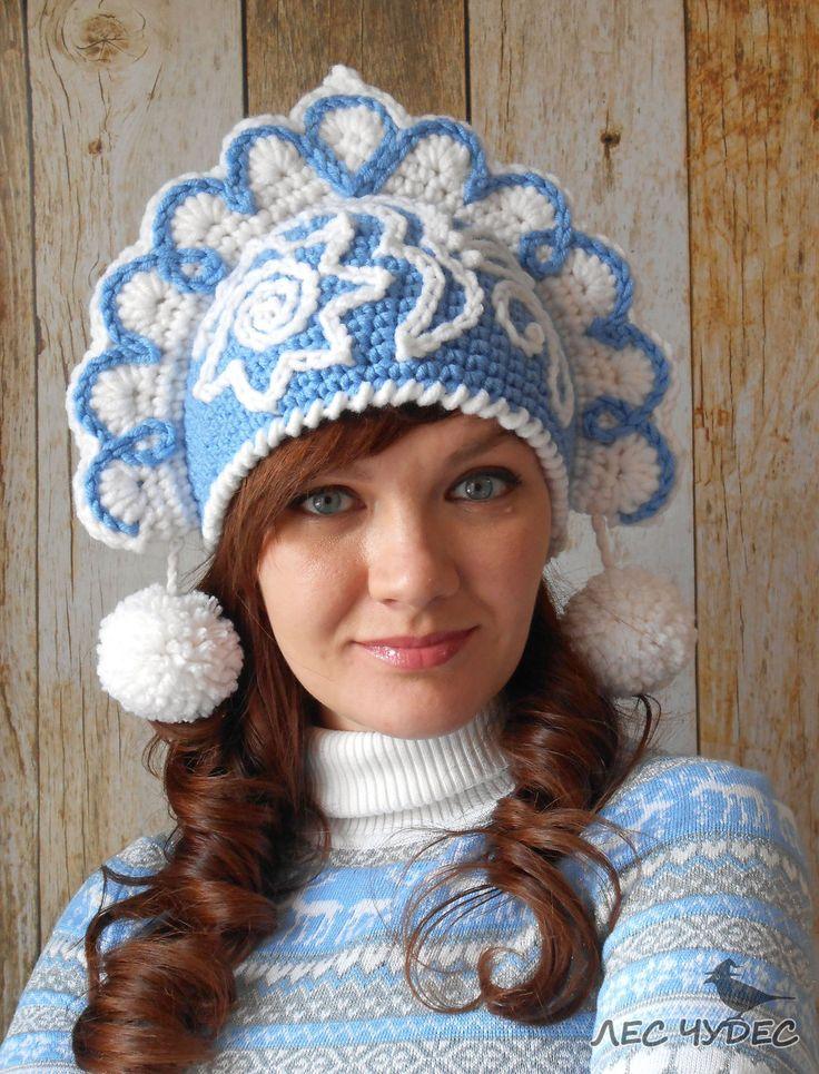 """Купить Шапка кокошник Снегурочки """"Снежки"""" - вязаная шапка, прикольная шапка, необычная шапка"""
